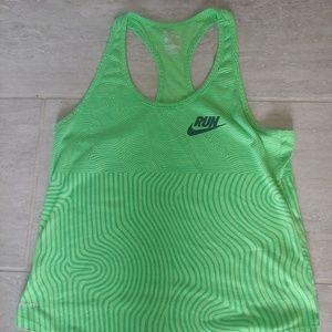 Nike Dri Fit Run Green Racer Back Tank Top Large